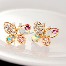 1pair Fashion Lovely Crystal Rhinestone Hollow Butterfly Ear Stud Earrings Gift Nice Chic Stud Earrings For Women(China (Mainland))