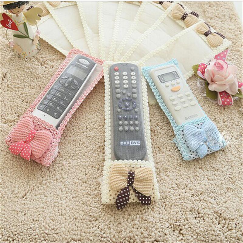 3pcs Bowknot Lace Remote Control Dustproof organizer storage candy color bag TV Air Condition Protector(18.5cm*21.5cm*24.5cm)(China (Mainland))