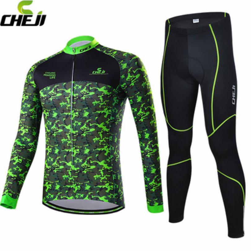 HOT! CHEJI New Camouflage green Cycling Long Sleeve Jersey Men's Clothing Top Winter Bike Jackets Pants Sets