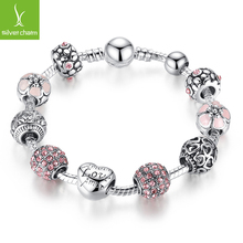 Luxury 925 Silver Heart Love Charm Crystal Beads bracelet for Women Fashion DIY Jewelry Fit Original Bracelets Gift(China (Mainland))