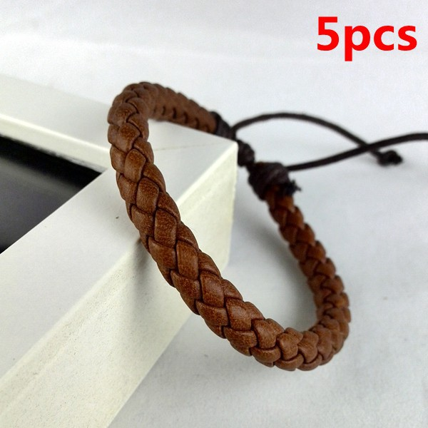 5pcs 2015 handmade braided snake leather bracelet bangle cuff wrap high quality women men simple color leather bracelet COFFEE(China (Mainland))