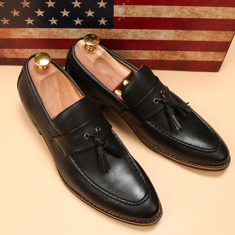 luxury brand mens pointed toe dress shoes loafer