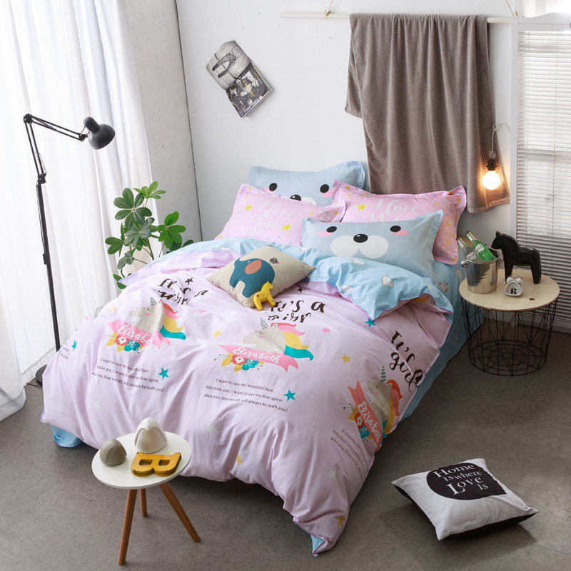 Bed sheet set with quilt - New Cotton Bedlinens Duvet Cover Sheet Pillow Cases China Mainland