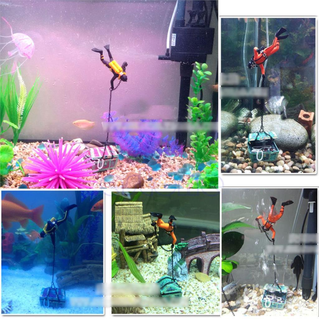 Unique Design Hunter Treasure Figure Action Decor Fish Tank Aquarium ... Unique Fish Tank Decorations