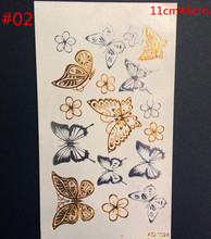 Butterfly gold metal henna tattoo flash gold temporary tattoo man fake tattoo largeglitter tattoo wave than art
