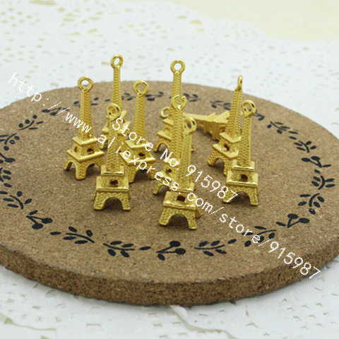 Wholesale (100 pieces/lot) 8*23mm golden Metal Alloy 3D Mini Eiffel Tower Charms Pendants Jewelry Making D0186(China (Mainland))