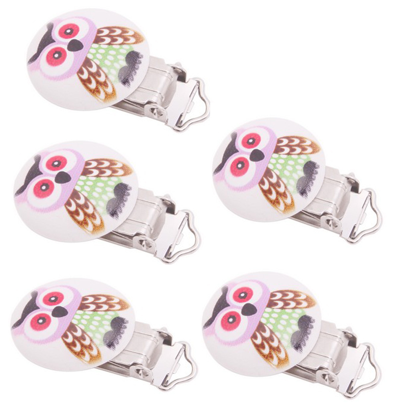 5pcs/Pack Baby Pacifier Clips Holder Animal Owl Cartton Wooden Round For Baby 4.5cm x2.8cm Funny Pacifier(China (Mainland))