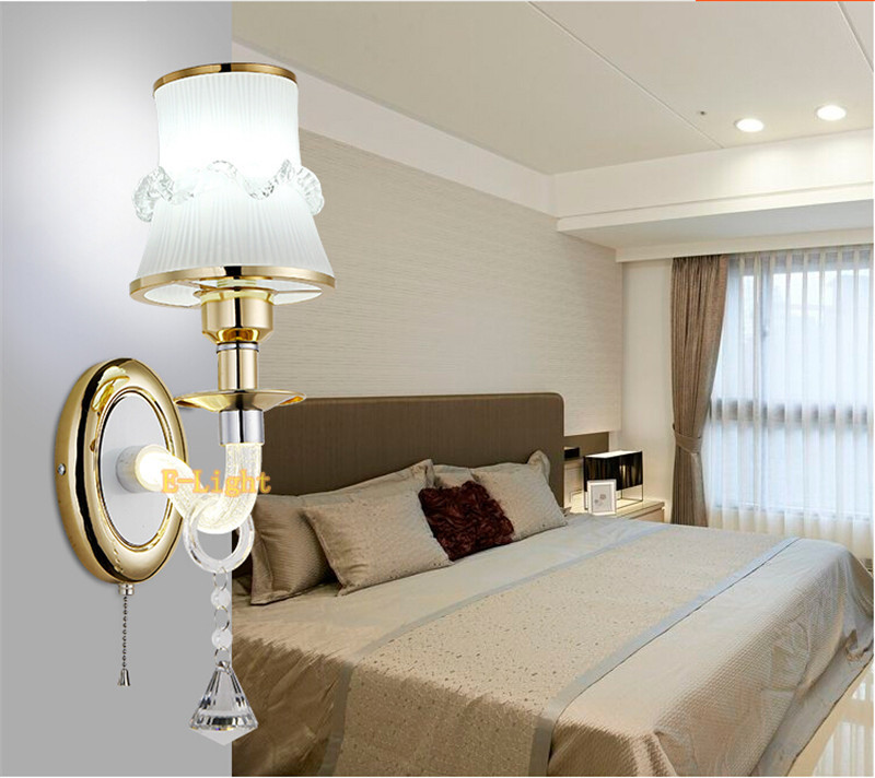 Crystal culumn wall light living corridor silver golden for Apliques para escaleras comunitarias