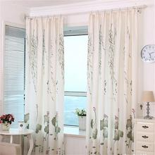 Traditional Chinese style rustic curtain Lotus willow simple blackout cloth for living room bedroom bay window cortina wp086#20(China (Mainland))