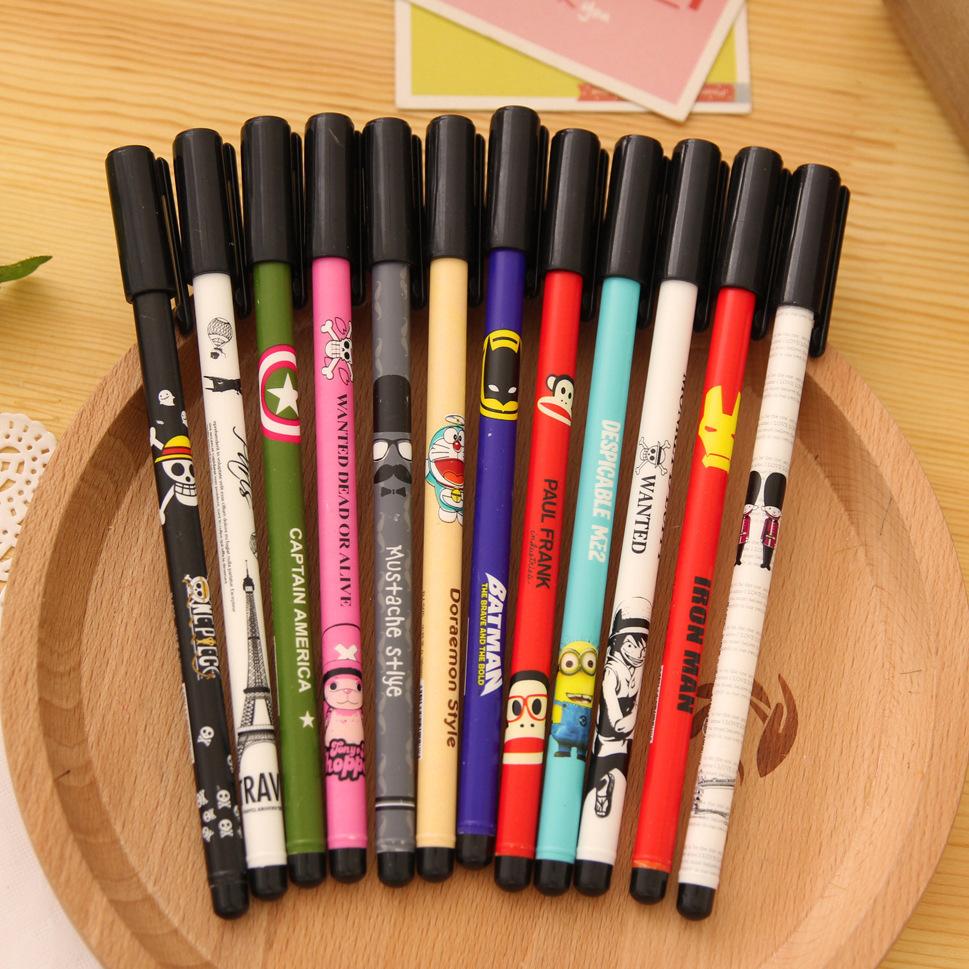 12 pcs/Lot Gel pen Cartoon print pen for writing kawaii stationery papelaria caneta Office material escolar school supplies<br><br>Aliexpress