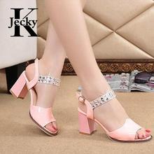 New Arrival Women Shoes PU Women Med Heels Sandals Rhinestone Summer Fashion Sandals Peep Toe Ladies Ankle Strap Sandals C012