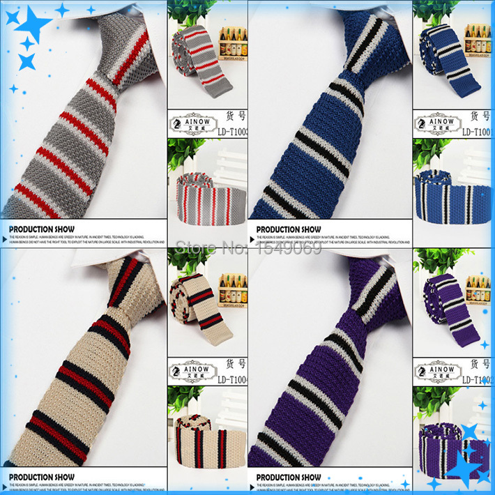 New Style High quality 100% Cotton ties Fashion Cool Men's Stripe Slim Wool Knit Ties For Men Necktie 25 Colors Optional(China (Mainland))