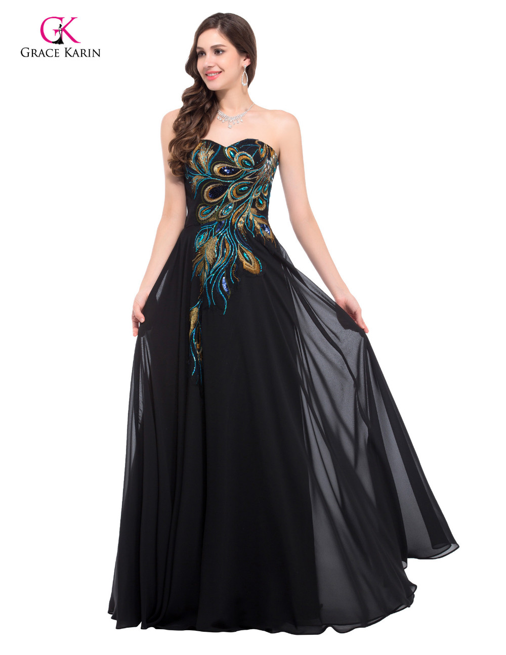 Платье грейс Karin без бретелек павлиньего длинные черные вечерние платья босоножки назад элегантные платья халат де вечер CL6168