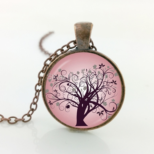 2016 New Wisdom Tree Necklace Pink Wisdom Tree Pendant Jewelry Glass Photo Cabochon Necklace(China (Mainland))