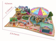 Handmade Baby Puzzle Kids Educational Toys DIY 3D Jigsaw Puzzle for Children Amusement Park Model,XY-557,Free Shipping(China (Mainland))