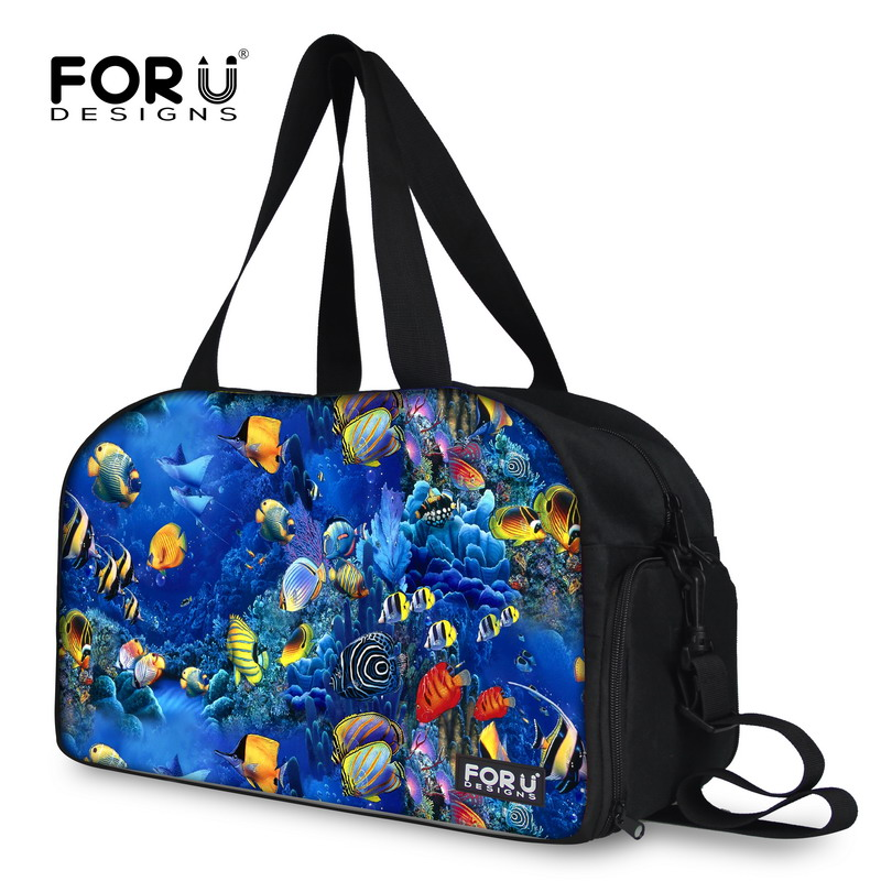 Brand Casual Fish Print Women Outdoor Travel Shoulder Bags Male Female Durable Sports Messenger Duffle