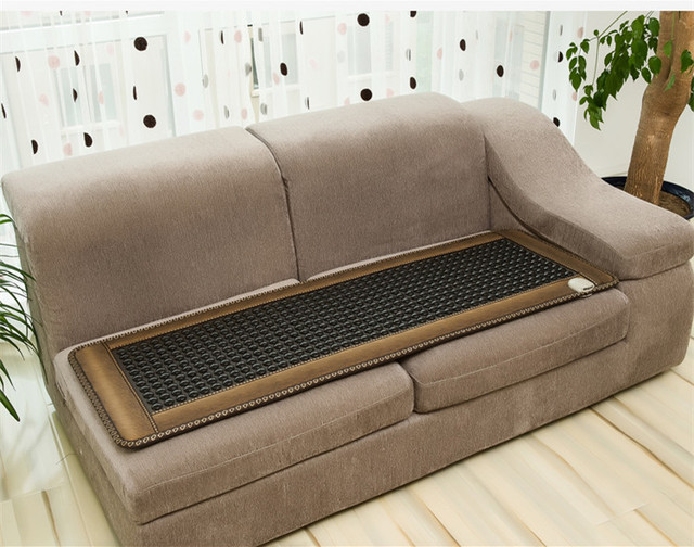 Tourmaline Ochre Mineral Therapy Electric Heating Mattress for Sofa with Jade PU Leather Far Inrared Thermal Massager Chair