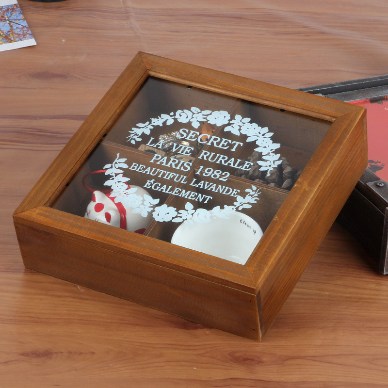 1PC Zakka old Doug Wooden storage box retro wooden jewelry box with eternal box desktop 24x24x7cm J0939(China (Mainland))