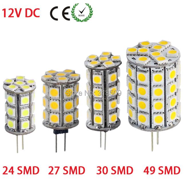 3W 4W 5W 7W White/Warm White LED Lamp G4 5730 SMD Bulb Light 24leds 27leds 30leds 49leds DC/AC 12V(China (Mainland))