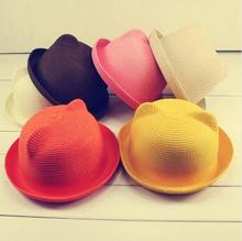 Cat Ears Hat 2016 New Summer Style Kids Sun Caps Brand Straw Hat Caps Soild Beach Lovely Girl Sun Hat  Baby Cat Ears Hat Caps