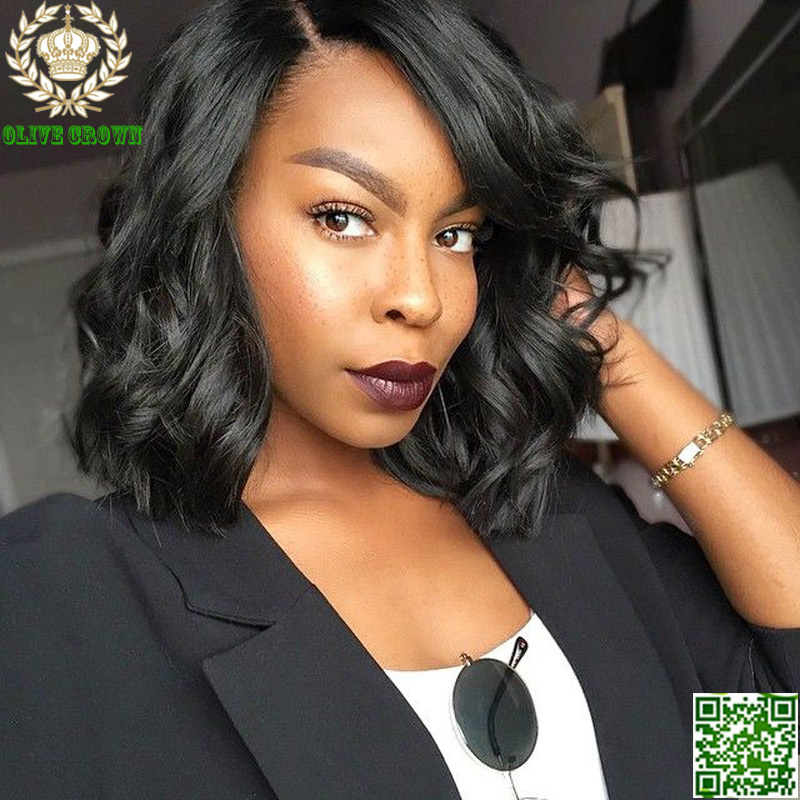 Virgin Brazilian Short Body Wave Full Lace Wig Human Hair Unprocess Lace Front Wig For Black Women Bob Virgin Hair Full Lace Wig(China (Mainland))