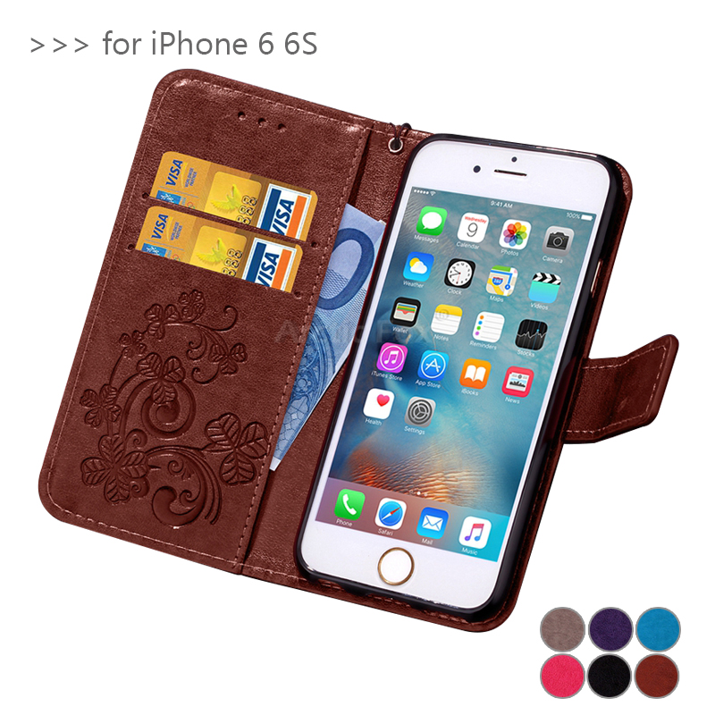 Lucky Clover 3D embossed leather Case For Apple IPHONE 6 6S flip phone bag Cover For iPhone 6S Case with stand card holder Funda(China (Mainland))