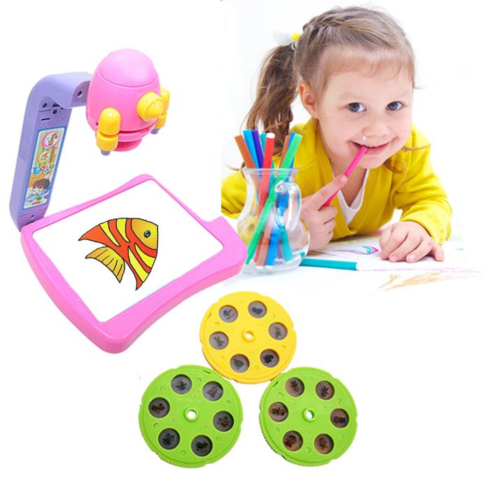 New Drawing Board Electronic Kids Toy Projector Light Glow Sketchpad 3 Films Water Painting Pens Booklet Toys For Children(China (Mainland))