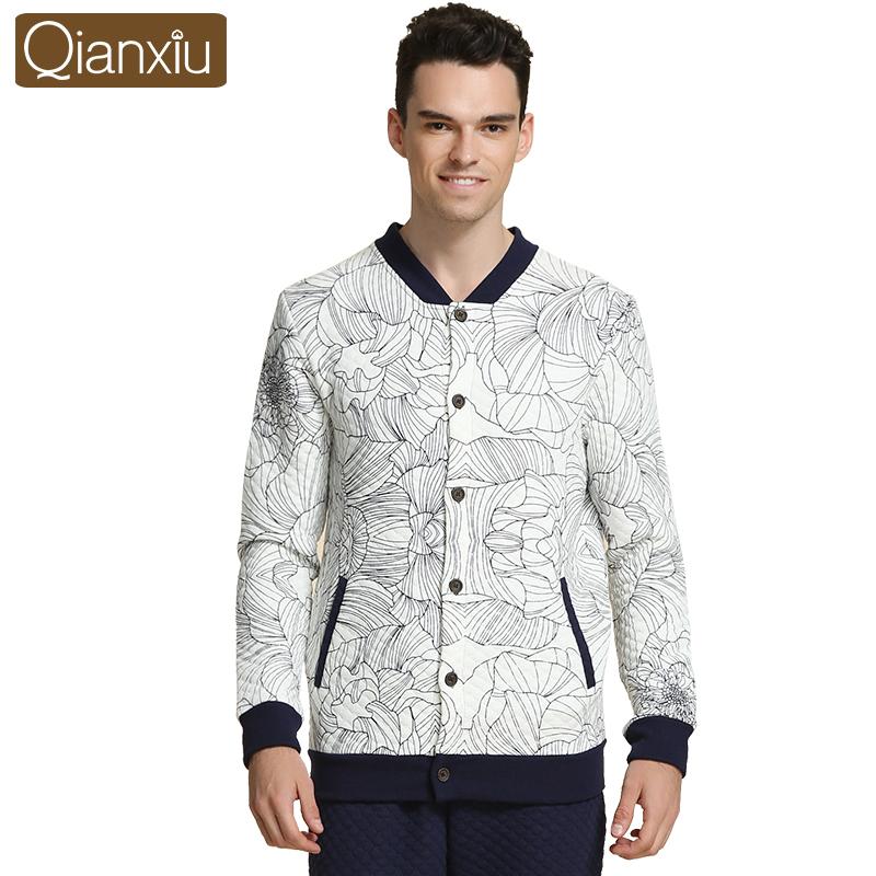 Qianxiu Fleece Pajamas Men Knitted Thicken Cotton Sleep&Lounge Casual Floral Lounge Wear(China (Mainland))