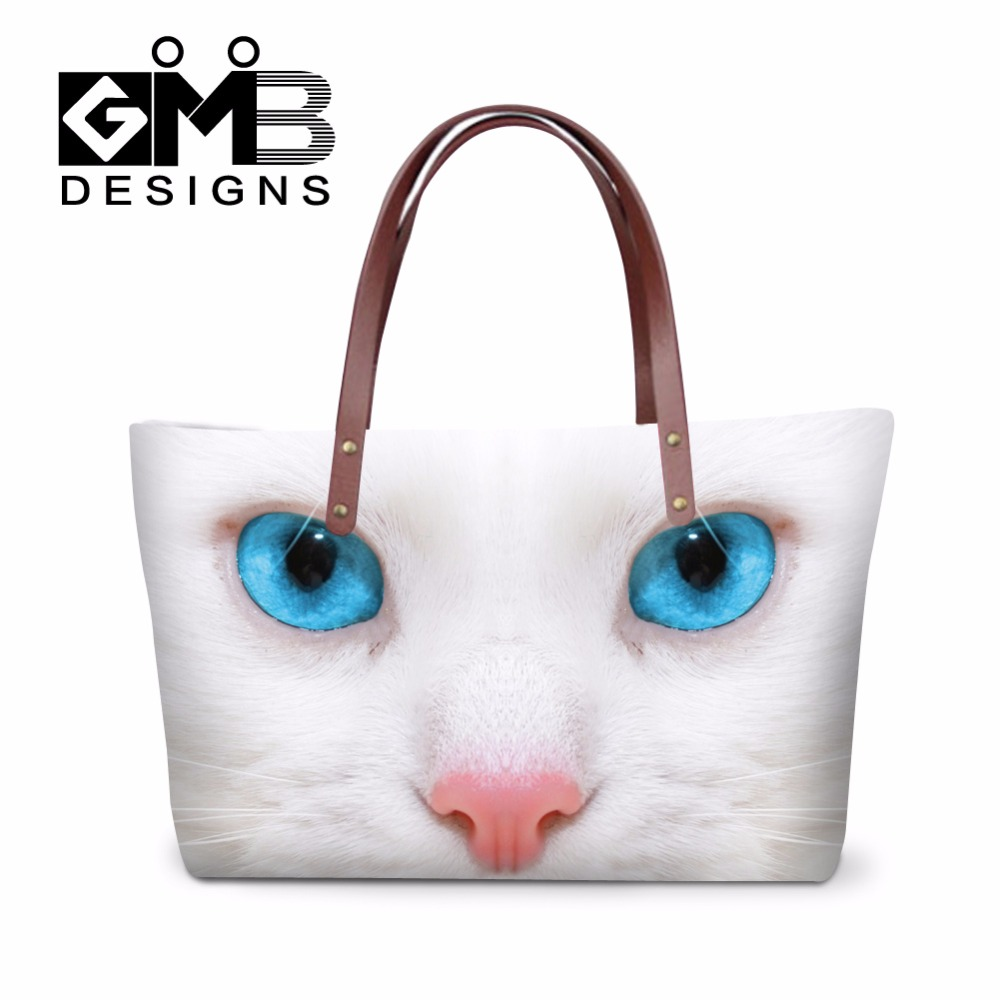 White Cat carry on handbag for Girls Animal summer hand bags Dog hand painted bags Nice Over the Shoulder bag for Women Outdoor(China (Mainland))