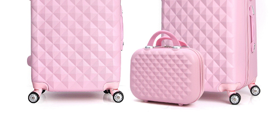 20 High Quality Diamond Lines Trolley Suitcase Travell Case Luggage Pull Rod Trunk Rolling