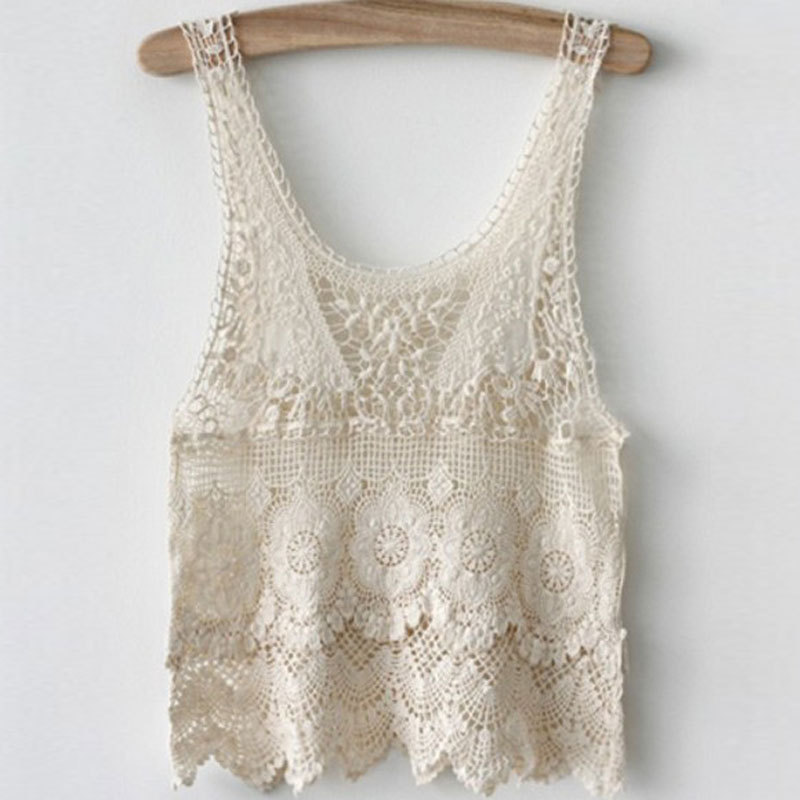 New Women39s Embroidery Lace Tank Top Vest Ladies Sexy
