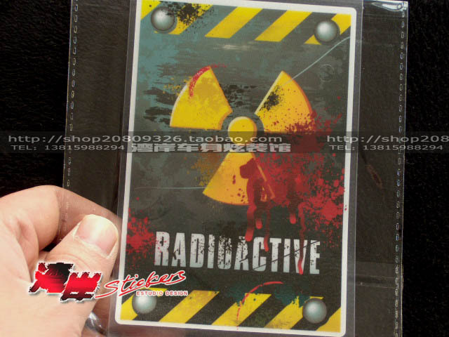 Hot Sale simulation results radiation nuclear radiation warning stickers Drop Shipping Car Decal(China (Mainland))