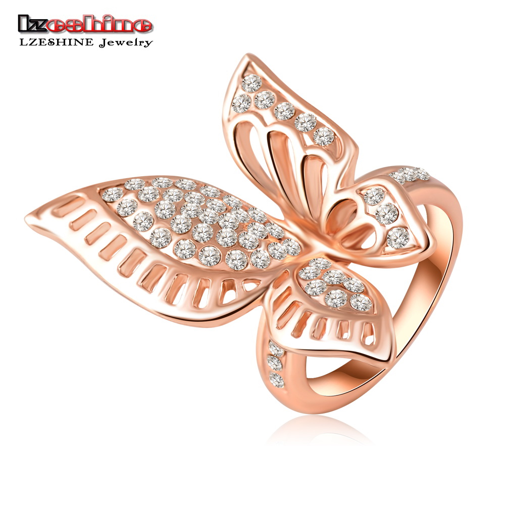 LZESHINE Rose Gold Plating Classic Beautiful Butterfly Engagement Rings With  Austrian Crystals Wedding Jewelry Ri-