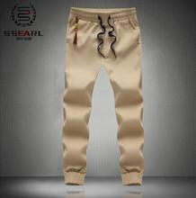 2015 nueva moda tallas grandes hombres pantalones slim Fit Cotton Pants basculador del estilo del verano de chándal hombres de pantalones pantalones deportivos M ~ 5XL color caqui(China (Mainland))