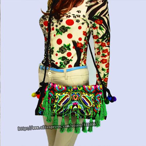 Vintage Hmong Tribal Ethnic Thai Indian Boho shoulder bag messenger embroidery, pom pom trim SYS-236C<br><br>Aliexpress