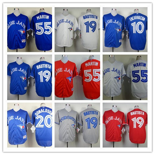 Men's Toronto Blue Jays Jerseys #55 Russell Martin # 20 Josh Donaldson # 19 Jose Bautista Blue White Red Grey Baseball jersey(China (Mainland))