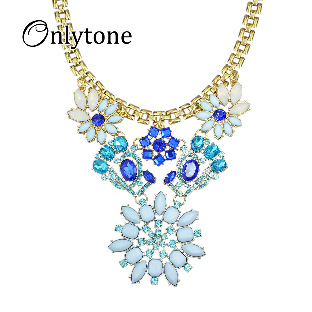 imitation gemstone jewelry designer luxury gold color chain blue