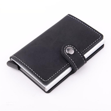 Credit card holder High quality PU leather men small wallet Antitheft Aluminum business vintage solid card case(China (Mainland))