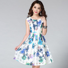 Fashion summer women's 2015 organza print fashion slim vest one-piece dress Short Skater Dresses
