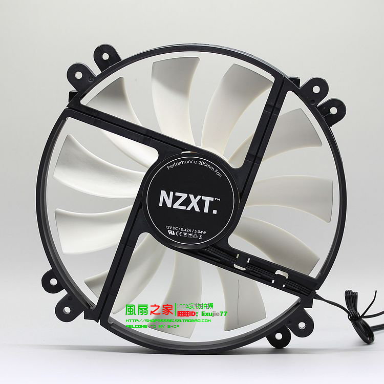 Free Shipping NZXT Phantom computer case fan 20CM 200mm fan 12V 0.42A silent fan 20 cm(China (Mainland))