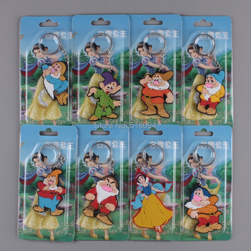 Cartoon Princess Snow White and the Seven Dwarfs Figure Toys PVC Keychains Child Toys 8pcs/set Free Shipping ANPD1672(China (Mainland))