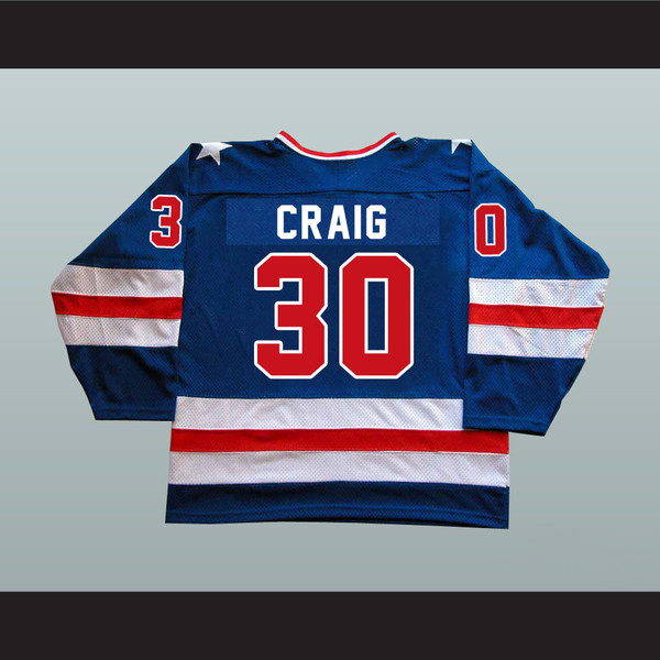 Hot Sale #30 Jim Craig Jersey, Men's Authentic Stitched Embroidery 1980 Miracle On Ice Team USA Hockey Jersey M-3XL White Blue(China (Mainland))