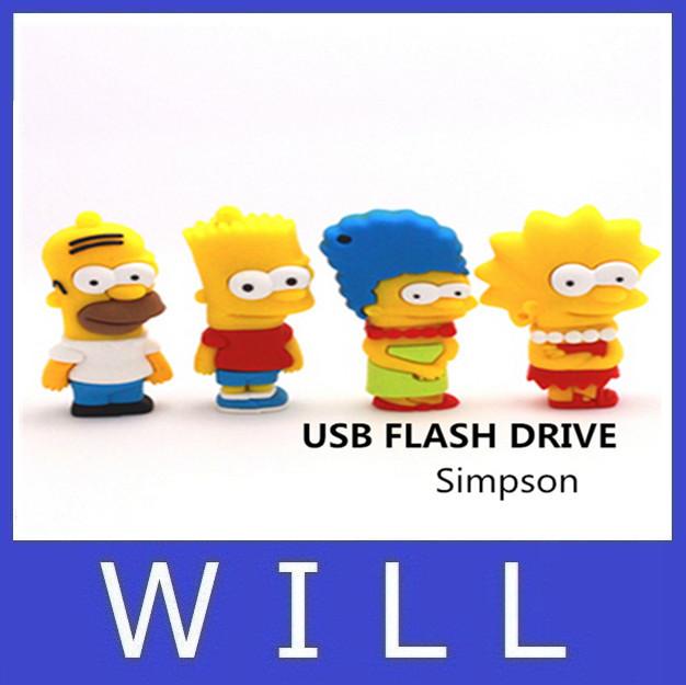 Simpson pen drive 64GB 4GB 8GB 16GB usb flash drive jump drive cartoon pendrive U disk memory disk flash card hot sale(China (Mainland))