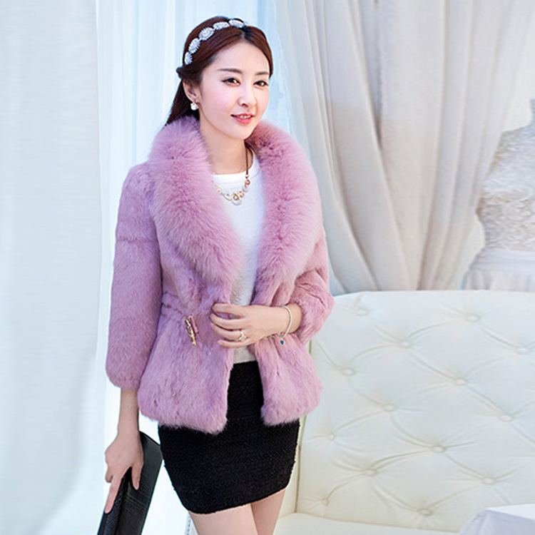 Foreign trade new Korean Leather grass fox fur collar belt diamond belt female models Rex hair short coat Black White Pink(China (Mainland))