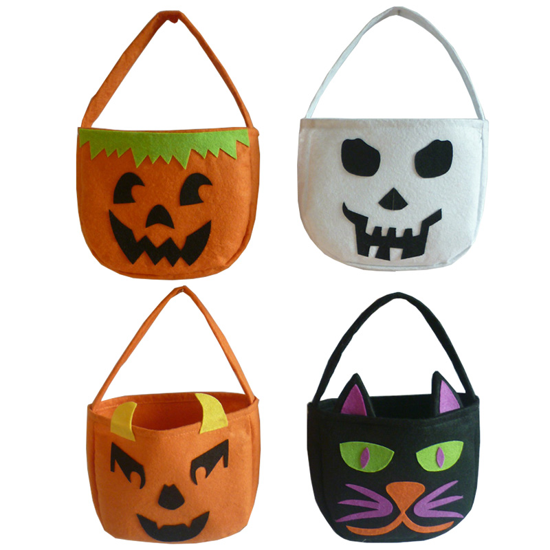 1PC Halloween Foldable Candy Smile Pumpkin Bag Folding Personality Candy Gift Basket Wacky Expressions Treat or Tricky Bag(China (Mainland))