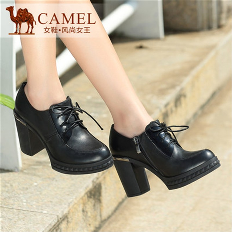 New 2015 Brand Camel Autumn Fashion Cow Leather Deep Mouth Round Toe High Thick Heel Side Zipper Lace-up Women Single Shoes<br><br>Aliexpress