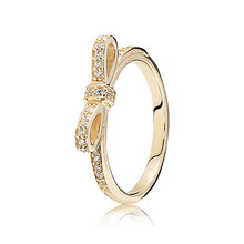 Gold Butterfly Rings Compatible with Pandora Jewelry Sparkling bow, clear cz Size #6-10 100% 925 Sterling Silvers European Style
