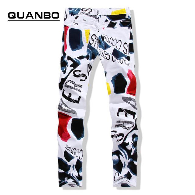 2016 новые мужские джинсы мода повседневная нерегулярные белая печать джинсы брюки ...