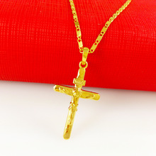 2015 Hot men necklace Free shipping 24k gold necklace top quality necklace & Cross pendant Cool Men's jewlery