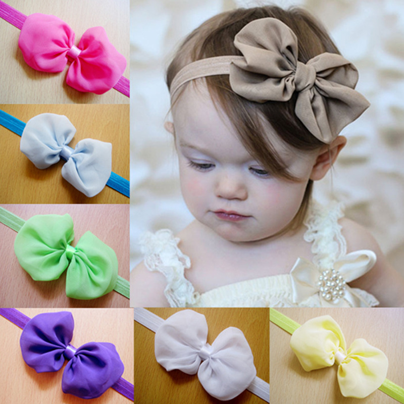 Kids Hair Accessories New High Quality 12 Colors Chiffon Bowknot Baby Headbands Solid Color Infants Girl Elastic nice Hair Bands(China (Mainland))